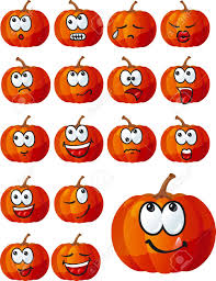 set of cute halloween pumpkins royalty free cliparts vectors and