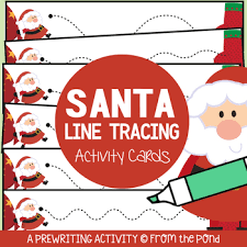 santa themed prewriting activity cards by from the pond