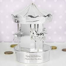 silver plated baby gifts personalised silver plated money box gift carousel christening