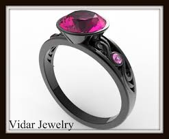 stone rings jewelry images Black gold engagement ring with pink stone vidar jewelry jpg