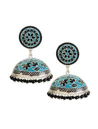 jhumka earrings online buy black meenakari silver jhumka earrings online at jaypore