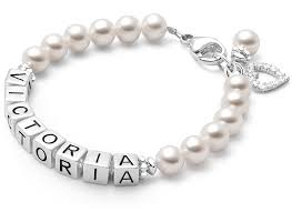 baby name bracelet baby children s pearl name bracelet
