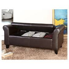 henry leather storage ottoman bench brown abbyson living target
