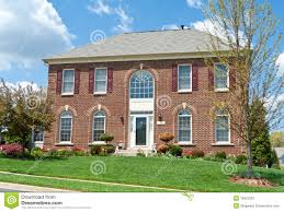 colonial brick single family house home md usa stock photography
