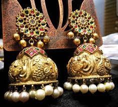 temple design gold earrings temple jewellery buttalu jewellery designs