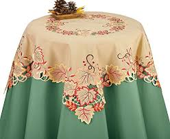 autumn harvest table linens embroidered autumn harvest leaves table linens square co
