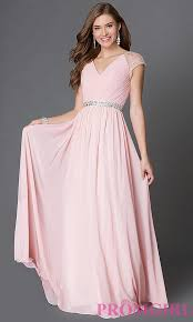 pretty dresses v neck prom dress with cap sleeves promgirl