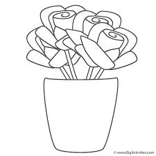 roses in vase coloring page valentine u0027s day