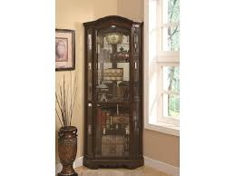 coaster curio cabinets 5 shelf corner curio cabinet with shaped