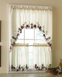 Kitchen Curtains And Valances Vineyard Grapes Embroidered Kitchen Curtains U0026 Valance Grape