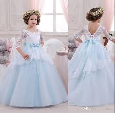 2016 new design ball gown little flower dresses with half