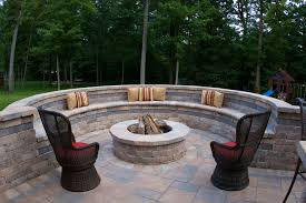 Firepit Patio Pit Stones Patio Traditional With Bench Seating Brick Bench