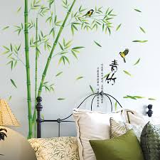 Home Decorating Plants Aliexpress Com Buy Shijuehezi Green Bamboo Wall Stickers Vinyl