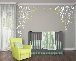 white tree hanging vines wall decal for baby nursery with