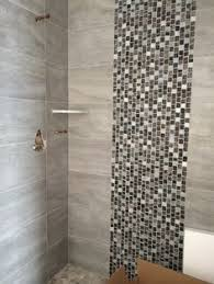 porcelain athens gray tile for shower wall 12 x 24 laid in