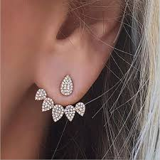 front back earrings korean jewelry 2017 new clear front back sided stud