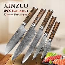 Damascus Steel Kitchen Knives 5 Pcs Kitchen Knife Set 73 Layer Japanese Vg10 Damascus Steel