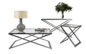 brushed nickel coffee table set brushed nickel scissor legs with bevelled glass coffee 30