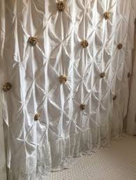 Luxury Shower Curtain White Cotton Features Style French And French Country Lightweight Design