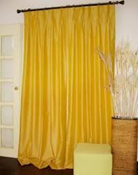 Yellow Faux Silk Curtains Drapes Design Designer Draperies Manufacture