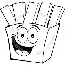 cartoon french fries black and white line art by kenbenner