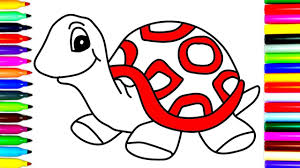 how to draw turtle coloring pages kids learn drawing art