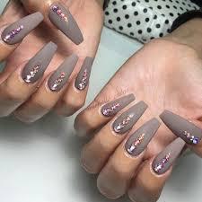 taupe swarovski bling coffin nail art design nail design