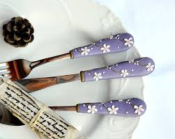 purple cutlery sets unique flatware elegant wedding gift spoon