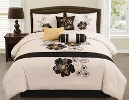 Black And Beige Comforter Sets 7 Pc Beige Black Gold Floral Vine Comforter Set Cal King Bed In A