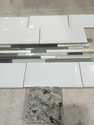 Grey Glass Backsplash by White Subway Tile With Glass Accent Backsplash Our House