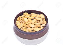 cuisine haba organic broad haba beans in ceramic bowl isolated on white