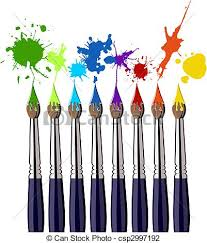 vector illustration of paint brushes and color splash eight