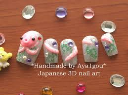 octopus squid 3d nails sea animal nautical kawaii nails