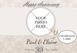 30 wedding anniversary personalised pearl 30th wedding anniversary photo wine chagne