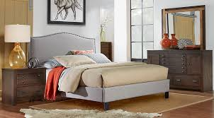 Silver Queen Bed Asher Coffee 5 Pc Queen Bedroom With Silver Upholstered Bed