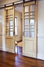 interior cool barn doors decor with laminating flooring and white