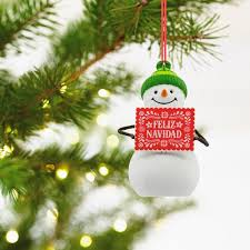 feliz navidad snowman language hallmark ornament