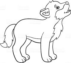 coloring pages little cute baby wolf howls stock vector art