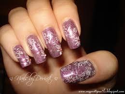 my pretty nailz glittery purple nails with flowers nail art