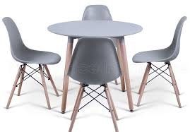 4 Chair Dining Table Set With Price Eiffel Designer Dining Set Grey Round Table U0026 4 Grey Chairs Sale