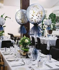 60th birthday centerpieces for tables close up of our navy and gold tulle balloons pinteres