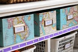 Decoupage Box Ideas - map covered shelf organizing using shoeboxes decoupage