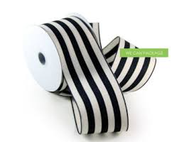 black and white striped ribbon black and white striped ribbon 2 5 x 10 yards floral