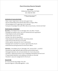 Sample Pastoral Resume by Sample Secretary Resume 8 Examples In Word Pdf