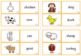 animal vocabulary matching cards