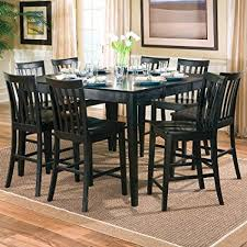 counter height dining room table amazon com 9pcs contemporary black counter height dining table 8
