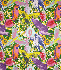Bird Print Curtain Fabric Martinique Fabric Jungle Just Fabrics