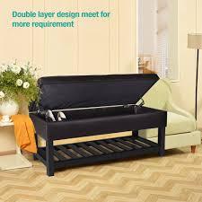 leather multi function ottoman storage bench with slat bottom u2013 ec