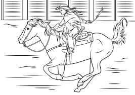 cowgirl riding horse coloring page free printable coloring pages