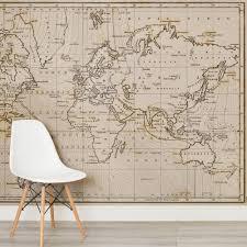 Neutral Shades World Map Wallpaper Mural Wallpaper Murals Wall